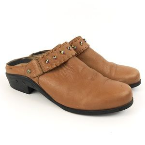 <Atiat> Leather Slip On Shoes Mules Beaded Boho